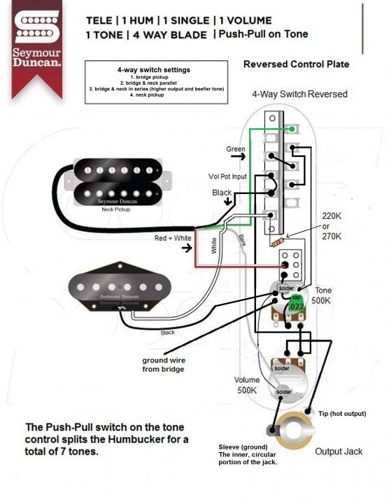 4 Way Switch, Telecaster, HB neck, SC Bridge, possible to