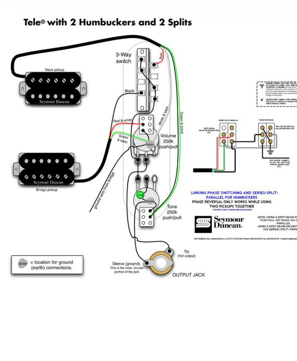 Wiring Diagram 2 Humbuckers Coil Splits Plus Series  Parrallel And Phase Switch