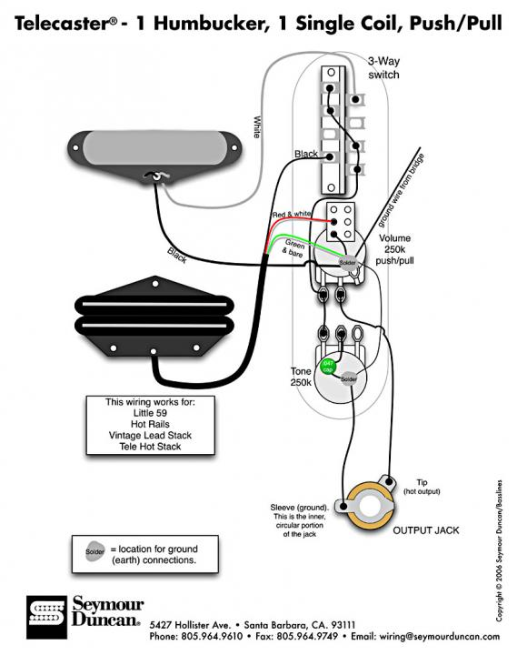 Sd S Tele 1 Humbucker 1 Single Coil Push Pull Diagram
