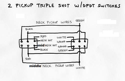 triple humbucker wiring diagram triple shot  style  wiring two neck humbuckers with 2 dpdt  triple shot  style  wiring two neck