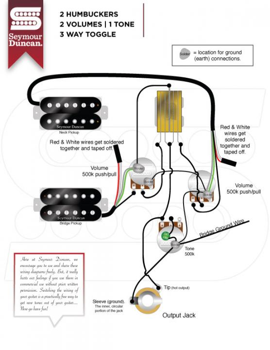 Humbucker Wiring Diagram 2 Volume 1 Tone