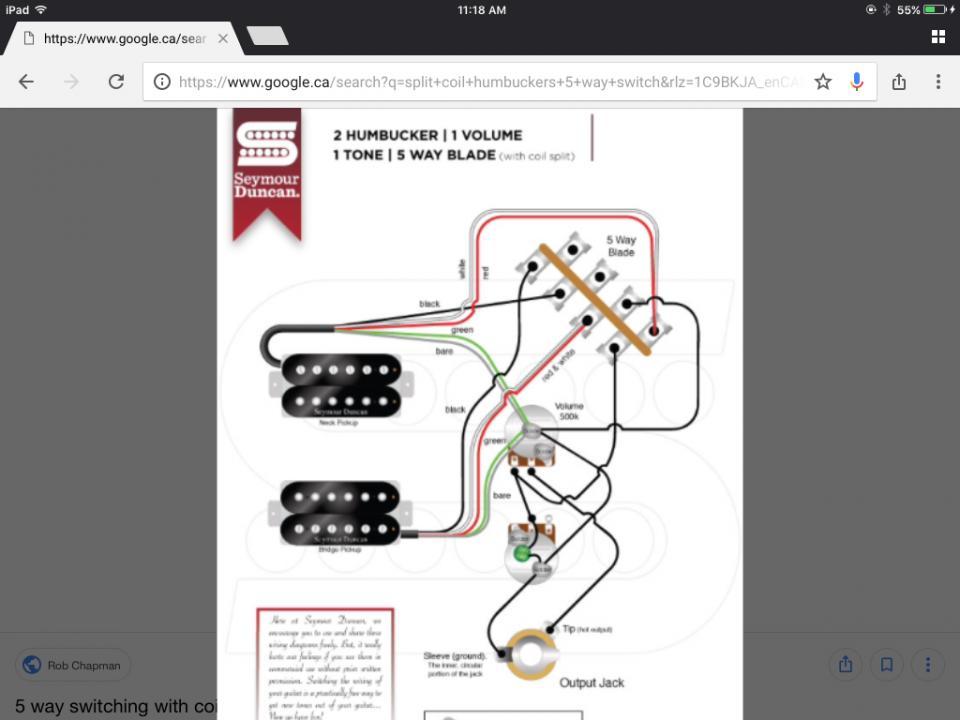 Wiring Diagram 2 Humbuckers 1 Volume Tone 5 Way Switch